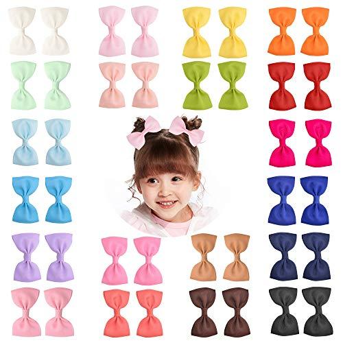 40 Stück 3 Zoll Baby Mädchen Grosgrain Band Schleifen Haarschleife Clips Haarspangen für Mädchen Teenager Kinder Babys Kleinkinder