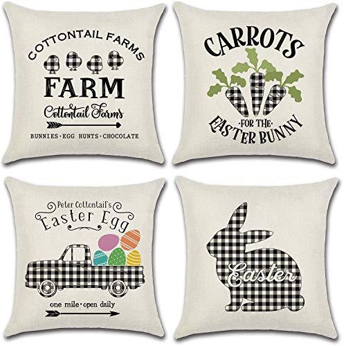 JOJUSIS Juego de 4 fundas de almohada de Pascua para sofá de coche, diseño de conejo, búfalo de 45,7 x 45,7 cm