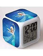 ZZTX FASHION Despertador para Niños, Despertador de Cabecera con Luz Nocturna de 7 Colores, Mini Music Wake Up Alarm Clock con 8 Sonidos, Regalo para Niños Niñas,F