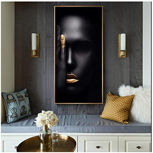 CJcheng Leinwand Wandkunst afrikanische Schwarz und Gold Frau Malerei Plakate und Drucke für Wohnzimmer Bilder (50x120 cm ohne Rahmen)