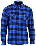 Bikers Gear Australia Limited Motorrad Kevlar Aramid gefüttert Schutz Flanell Hemd, blau/schwarz,...