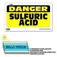 危険硫酸 - 12×6で - ラミネート符号ウィンドウビジネスステッカー