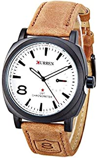 CURREN 8139 Unisex Stylish Quartz Analog Watch with Leather Strap
