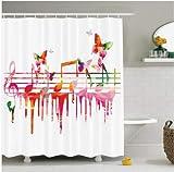 Música Obra Colorida Notas Musicales Clef Compositor Orquesta Decorativa Imagen clásica Poliéster Baño Cortina de Ducha 180x200cm