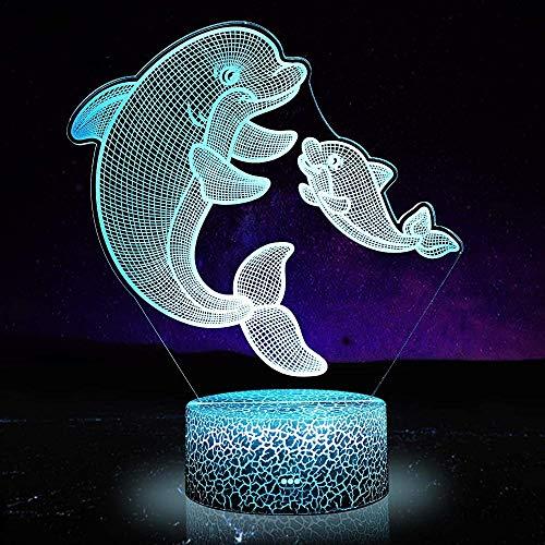 Dolphin 1 LED 3D luz nocturna, controlador con control remoto táctil 16 colores cambiantes lámparas de escritorio decoración de habitación de niños regalos de cumpleaños para niños niños niños niños