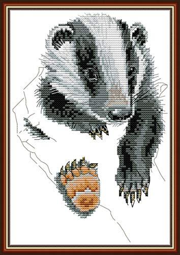 Kit de punto de cruz estampado, patrón impreso de gato OWN4B, 11 ct, 11 x 11.8 pulgadas DIY Kit de bordado (Badger)