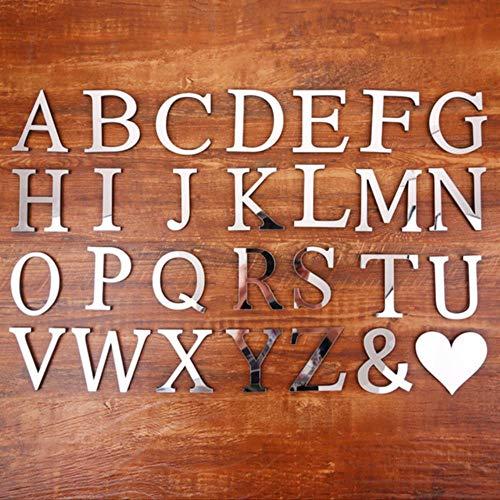 anyuq66qq Gartendekoration Acrylspiegel 26 Großbuchstaben Englisch Dekorative Scrabble Buchstaben Aufkleber Alphabet Hochzeitsdekoration Zimmertür Wandaufkleber, Silber, 10Cm
