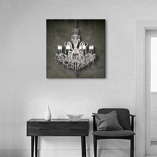 T.T-Q Araña de cristal decorativa LED marco de fibra de vidrio pintura decoración del hogar regalo de la pared arte de la sala de estar del dormitorio 40 * 40 cm
