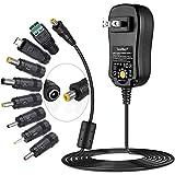 SoulBay[アップグレード版] SoulBayユニバーサルAC DCアダプタ3V~12V家電およびUSB充電デバイス用、8個の選択可能なアダプタプラグ付き、マルチ電圧レギュレートスイッチング電源-最大2Amps Black 2A max