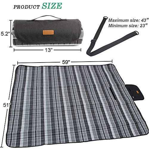 Good Gain Picnic Blanket Mat Waterproof Large Black Plaid Picnic Rug Camping for Travel Beach Mat with Carrier Shoulder Strap Outdoor Mat for Party