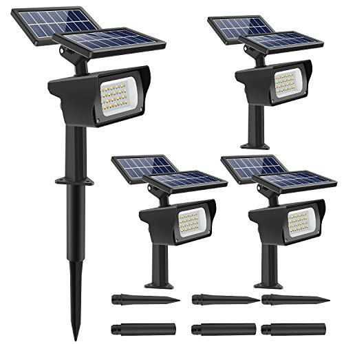 CLV 40 LED Solar Landscape Spotlights,3 Modes Adjustable IP65 Waterproof Wireless Outdoor Solar Spotlight,120°Angle Adjustable Wall Light for Yard,Garden,Driveway,Porch,Walkway,Pool,Patio,4 Packs