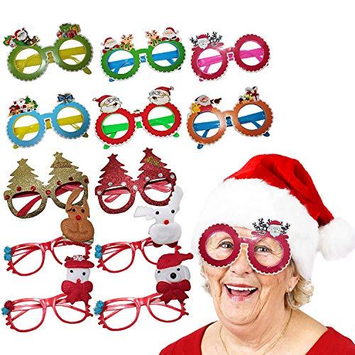THE TWIDDLERS Set de 12 Gafas con Diseños de Navidad - Ideal para Niños, Fiestas Navideñas - Disfraces - Rellenos de Bolsa de Regalo