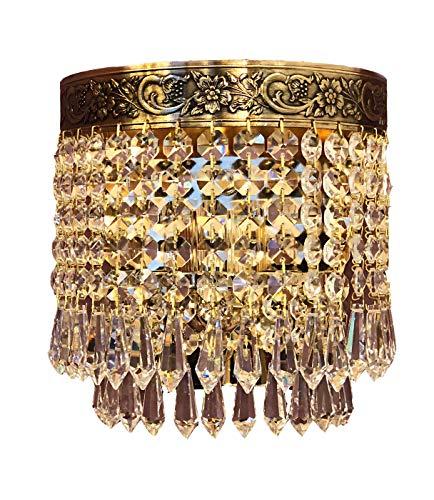 Kristallen wandlamp PLAZA goud gemaakt van geslepen kristallen