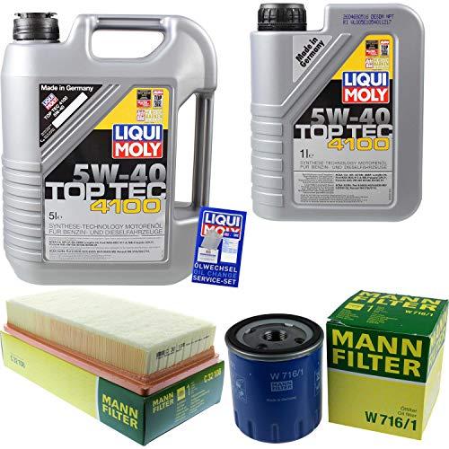 Filter Set Inspektionspaket 6 Liter Liqui Moly Motoröl Top Tec 4100 5W-40 MANN-FILTER Luftfilter Ölfilter