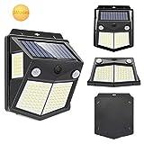 Luz Solar Exterior, Mewtwo 4-Paquete Focos Led Exterior Solares con Sensor de Movimiento Impermeable Ángulo 270º (3Modes 160 LED)