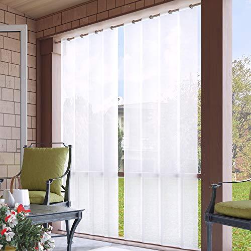 Clothink Outdoor Vorhang 132x215cm mit Ösen Transparent Weiss(1 Stück)- mit Raffhalter - Wasserabweisend Schmutzabweisend Blickdicht Sonnenschutz Sichtschutz für Veranda Terrasse Balkon