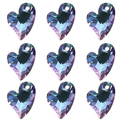 YARNOW 20 Piezas de Cuentas de Cristal Facetadas con Forma de Corazón Colgantes para Collares Pendientes de Pulsera 17MM