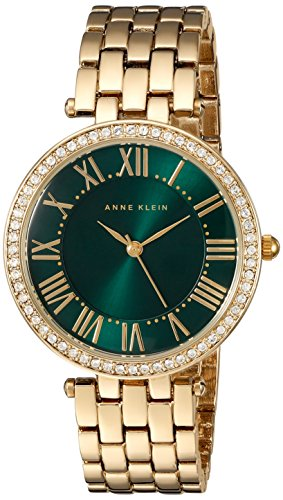 Anne Klein Women's AK/2230GNGB Swarovski Crystal Accented Gold-Tone Bracelet Watch