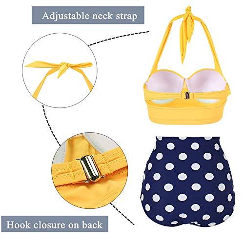 Yooeen Damen Hoher Taille Badeanzug 50er Retro Polka-Punkt Badeanzüge Bademode Zweiteiler Bikini Set Schwimmanzug - 4