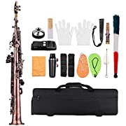 ammoon Soprano Saxophone SAX Bb Brass Lacquered Body and Keys (Red Bronze)