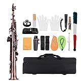 ammoon LADE Profesional Bronce Rojo Recta Bb Saxofón Soprano Sax Instrumento de Viento de Madera Patrón de Shell del Olmo Clave Carve con los Guantes de Casos Paño de Limpieza Correas Cepillo de Grasa