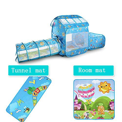 3 in 1Kids Ocean Tunnel Tent, 1 Play Kids tunnels 1 Castle Tent en 1 Ball Pit met basketbalring 252 * 104 * 46 cm | 1 * tunnelkussen | 1 * kamerkussen,Blue