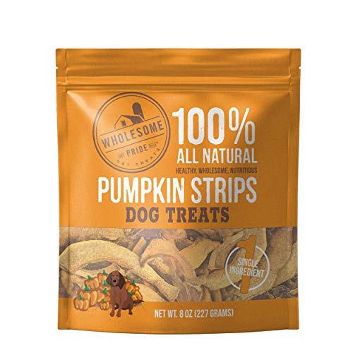 Wholesome Pride Pumpkin Strips Dog Treats, 8 oz - All Natural Healthy - Vegan, Gluten and Grain-Free Dog Snacks - Made in USA