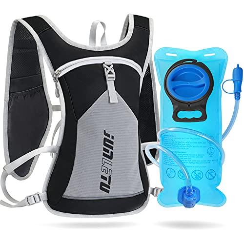 KTUEOV Mochila de Hidratación con 2L Bolsa de Agua Mochila Correr Ligera para Mujer y Hombre 6L Mochila Trail Running Respirable al Aire Libre para Ciclismo Maratón Senderismo Camping (Negro-Gris)