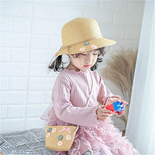 Sonnenhut für Kinder, Mädchen, lässiger Strohhut und Taschen, Sonnenhut,...