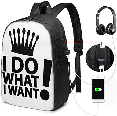 Ik doe wat ik wil Waterdichte Laptop Rugzak met USB Opladen Poort Hoofdtelefoon Past 17 Inch Laptop Computer Rugzakken Reizen Daypack School Tassen voor Mannen Vrouwen