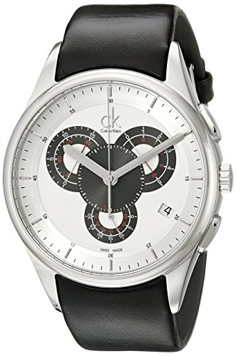 Calvin Klein Calvin Klein Basic Chrono K2A27188 - Reloj cronógrafo de Cuarzo para Hombre, Correa de Cuero Color Negro