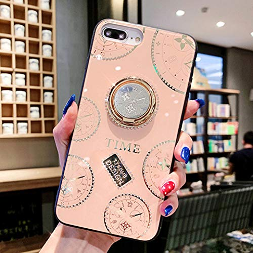 LIUYAWEI Funda para teléfono Planet para iPhone 12Pro MAX Funda XR XS MAX 6 7 8Plus Cristal de Soporte Suave con Joyas de Espejo con Cubierta de Anillo, Estilo 3, para iPhone XR