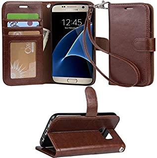 Galaxy S7 case, Arae [Wrist Strap] Flip Folio [Kickstand Feature] PU Leather Wallet case with ID&Credit Card Pockets for Samsung Galaxy S7 - Brown