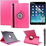 Housse Stand Cover iPad Air 2 Case Cuir Coque Etui pour iPad Air 2 Housse Folio Smart Cover Station avec Pivotant sur 360°Flip Folio - Rose rouge + Film de protection d'écran+Stylus Pen