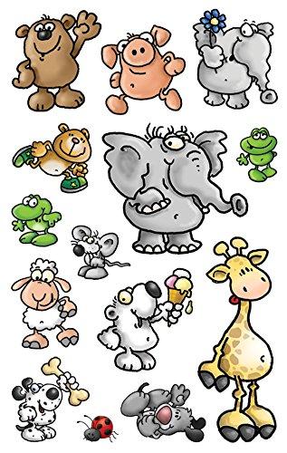 AVERY Zweckform 53193 - Papier Sticker Tiere, Aufkleber, Kindersticker, Elefant, Maus, Bär, Giraffe, Kindergeburtstag, Mitgebsel, Gastgeschenke, Sammeln, Preise Partyspiele, Schatzsuche, 42 Sticker