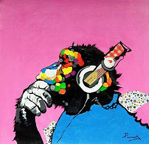 YWOHP Arte de Graffiti de Animales sobre Lienzo Pintura de Mono de Perro Pop Arte Callejero Imágenes murales Hechas para Carteles de habitación de niños Decoración de Pared para el hogar-50X50