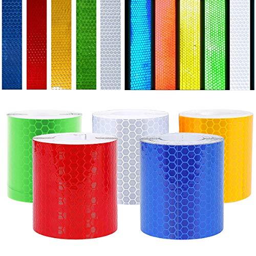 BESTZY Reflektorband Klebeband Selbstklebende - 5 Farben 5cm x 3m Reflektierendes Klebeband Wasserdichtes Warnklebeband Sicherheit Markierung Band