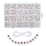 Gaoominy DIY Collar Pulsera con Cuentas AcríLico IngléS Numeric Letter Bead Material de Cuentas Letter Bead Set DIY Jewelry Set 1850 Piezas Color