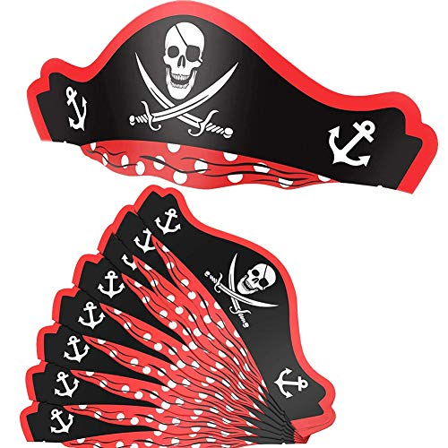 XYDZ Sombreros de cartón para fiestas de Halloween, 10 Unidades Sombreros de Pirata Gorros de Cartón de Fiesta Sombreros de Papel de Pirata de Halloween
