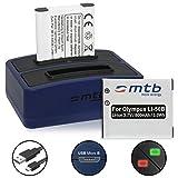 2 Akkus + Dual-Ladegerät (USB) für Li-50b, DB-100, D-Li92 / Olympus SH-.SP-.SZ-.TG-.VG-.VR-.XZ-.mju. / Ricoh WG-. / Pentax… - s. Liste! (inkl. Micro-USB-Kabel)