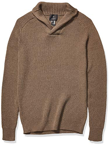 The Knitwear Lab Men's 3D Shawl-Collar Textured Pullover Sweater Bark XX-Large