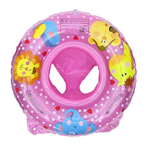 La vogue Baby Schwimmring Tiere Schwimmsitz Kleinkind Aufblasbarer Schwimmreifen Schwimhilfe mit Doppel Griffe Rosa
