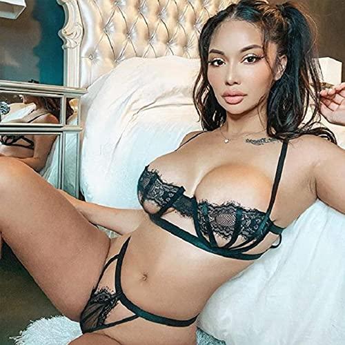 2021 Conjunto de lencería para Mujer Sexy de Malla de Encaje Ahuecado Sujetador Push up Abierto y Bragas Traje de Dos Piezas Ropa Interior Negra con Vendaje