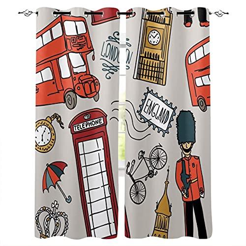 Hailongdia Cortinas Opacas, Graffiti De Dibujos Animados De Londres En 3D, Cortinas Decorativas para Dormitorio De Oficina / 150 (H) X 125 (W) Cm X2 / A10813