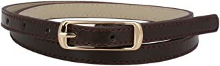 Damara Womens Solid Color Skinny Waist Ornament Faux Leather Belt