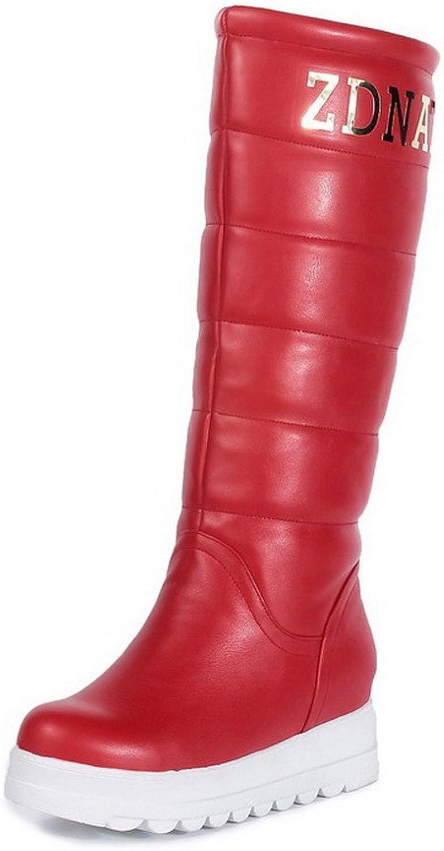 AllhqFashion Women's Round Toe Kitten-Heels Blend Materials Mid-Calf Boots