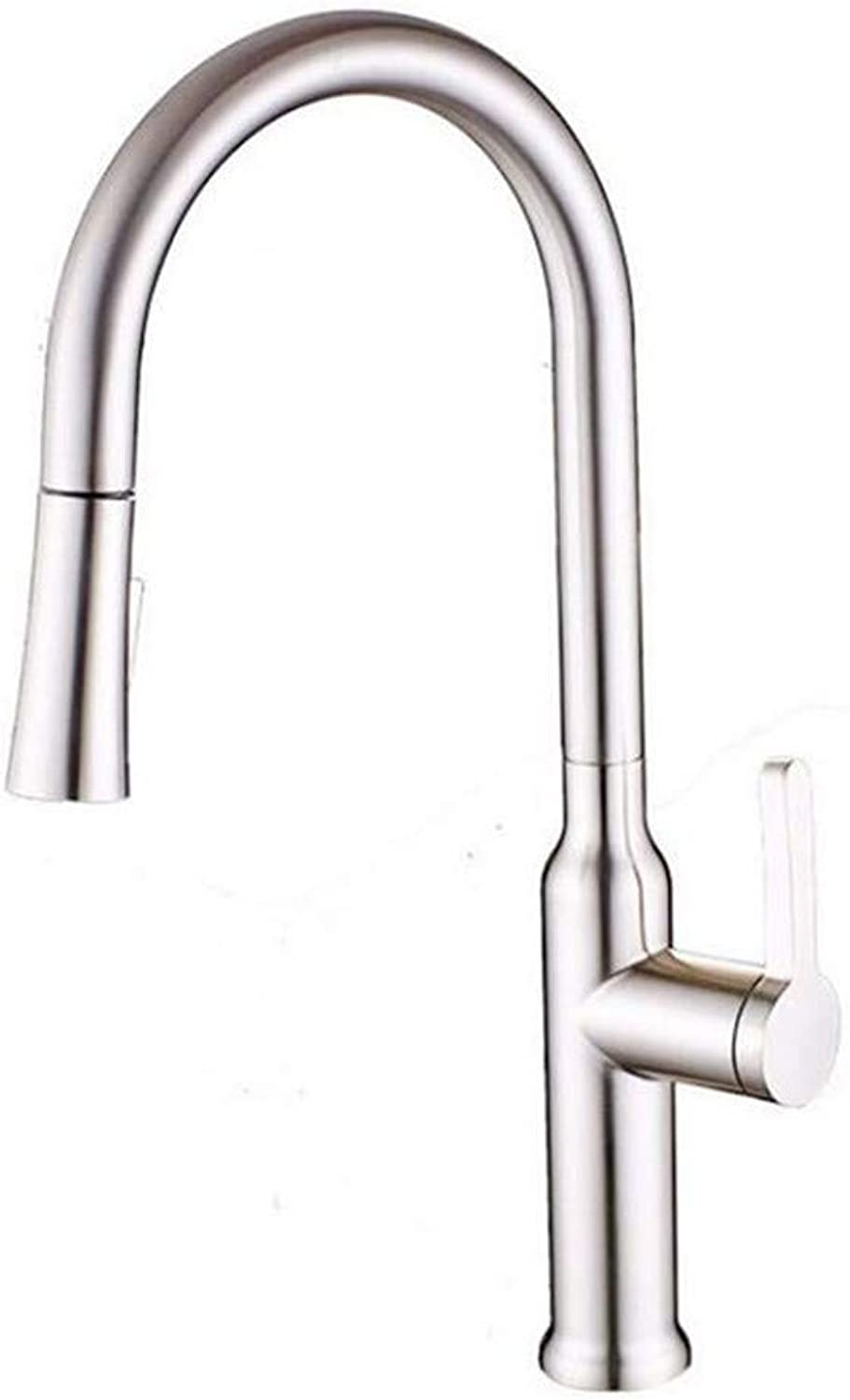 Modern Brass Chrome Hot and Cold Water Wire Drawing Can Revolve The Kitchen Sink Faucet Hot and Cold Water Mixing