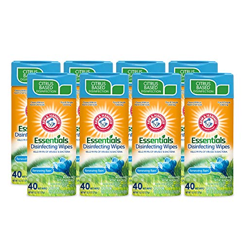 CR Brands Arm & Hammer Essentials Disinfecting Wipes, Renewing Rain Scent, 8 Pack, 40 Count, 320 Wipes