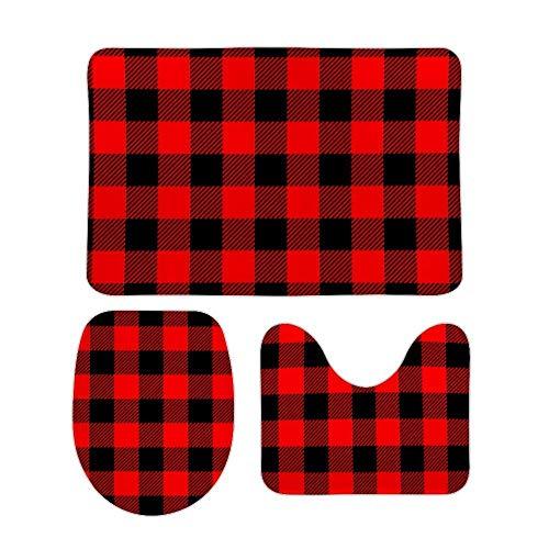 Juego de alfombras de baño RedBeans antideslizantes de 3 piezas de franela, diseño de búfalo a cuadros rojos y negros
