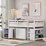 Merax Twin Loft Bed, Wood Loft Bed, Low Study Twin Size Loft Bed Frame with Cabinet and Rolling Portable Desk, Great for Kids/Teens (White)